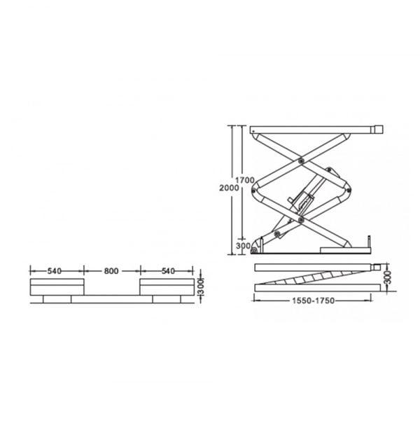 Cầu nâng cắt kéo 3 tấn UNIKA U-6105A