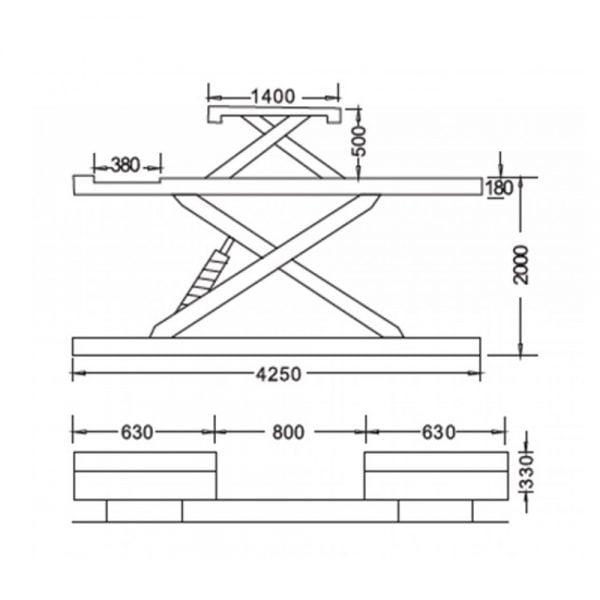 Cầu nâng cắt kéo 4 tấn UNIKA U-6108