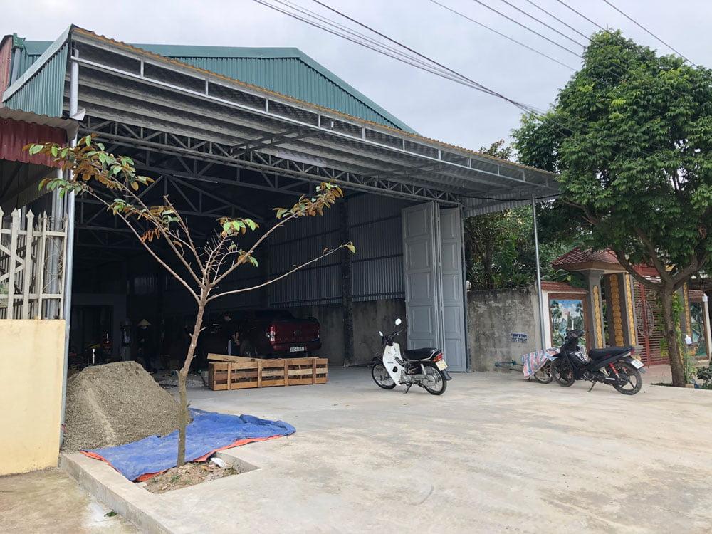 Mặt tiền rộng rãi của trung tâm chăm sóc xe tại xã An Nông - Triệu Sơn - Thanh Hóa