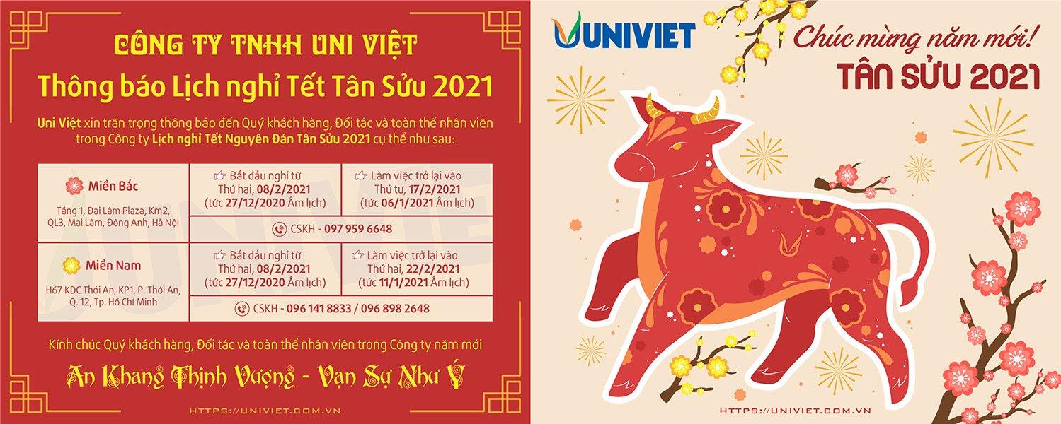 Thông báo nghỉ Tết Tân Sửu 2021