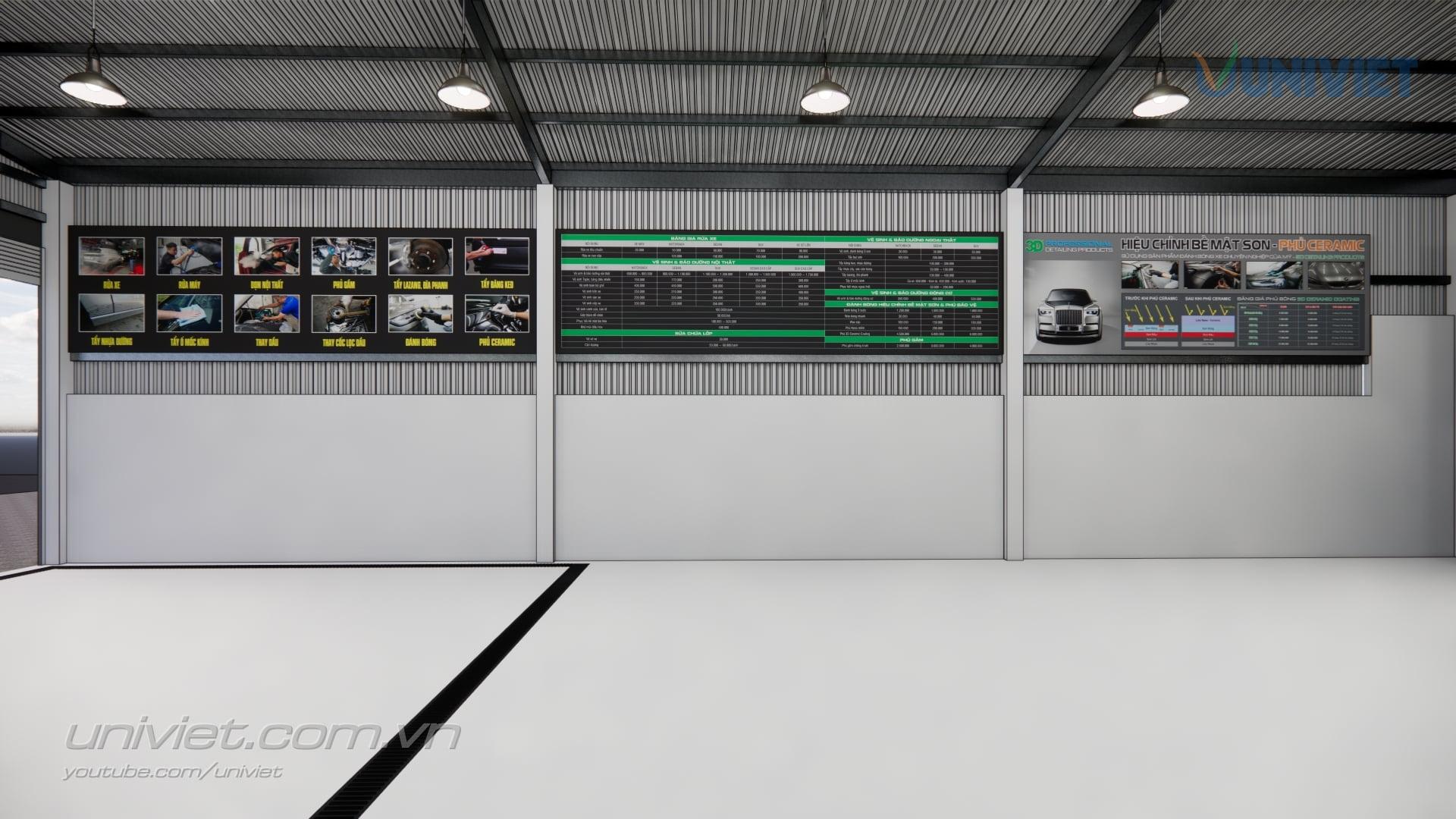 Mô hình 3D Trung tâm chăm sóc xe hơi chuyên nghiệp tại Cà Mau