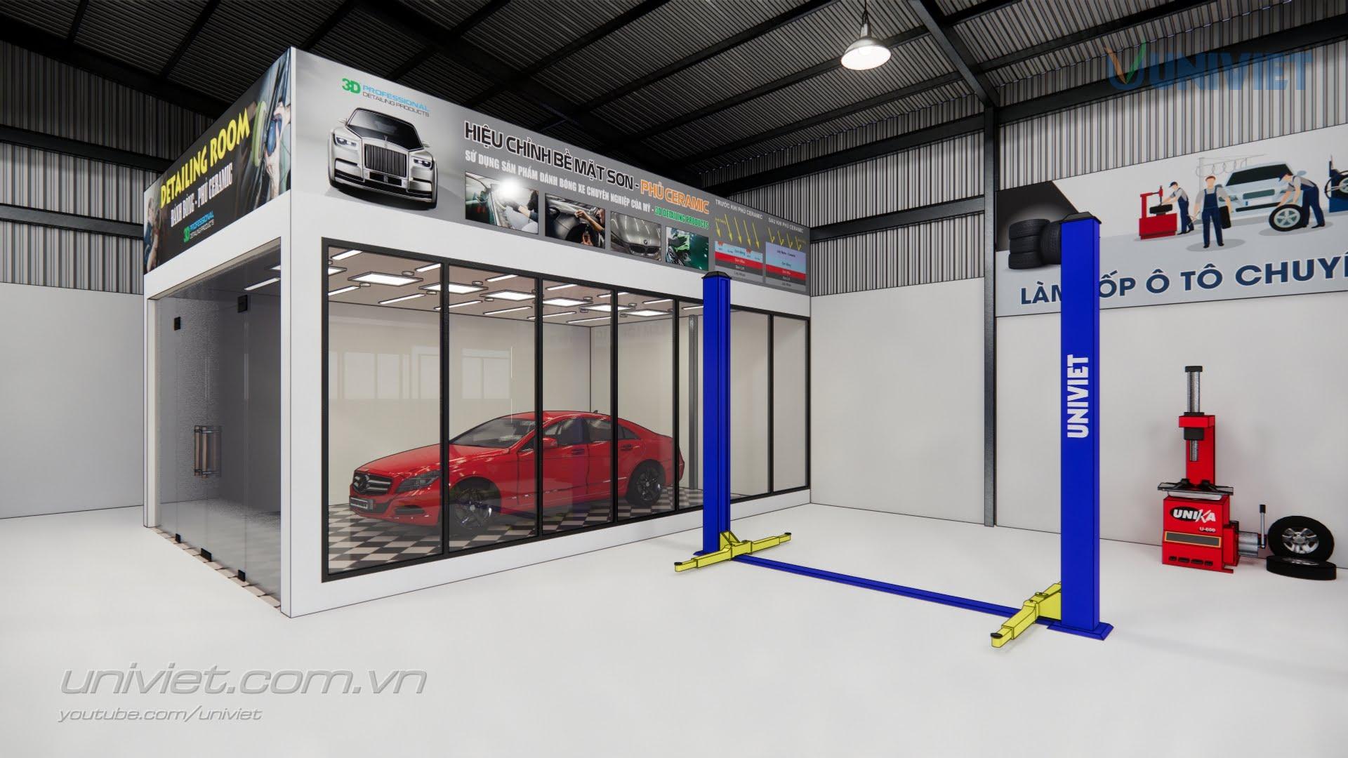 Mô hình 3D Trung tâm chăm sóc xe chuyên nghiệp tại Bình Dương