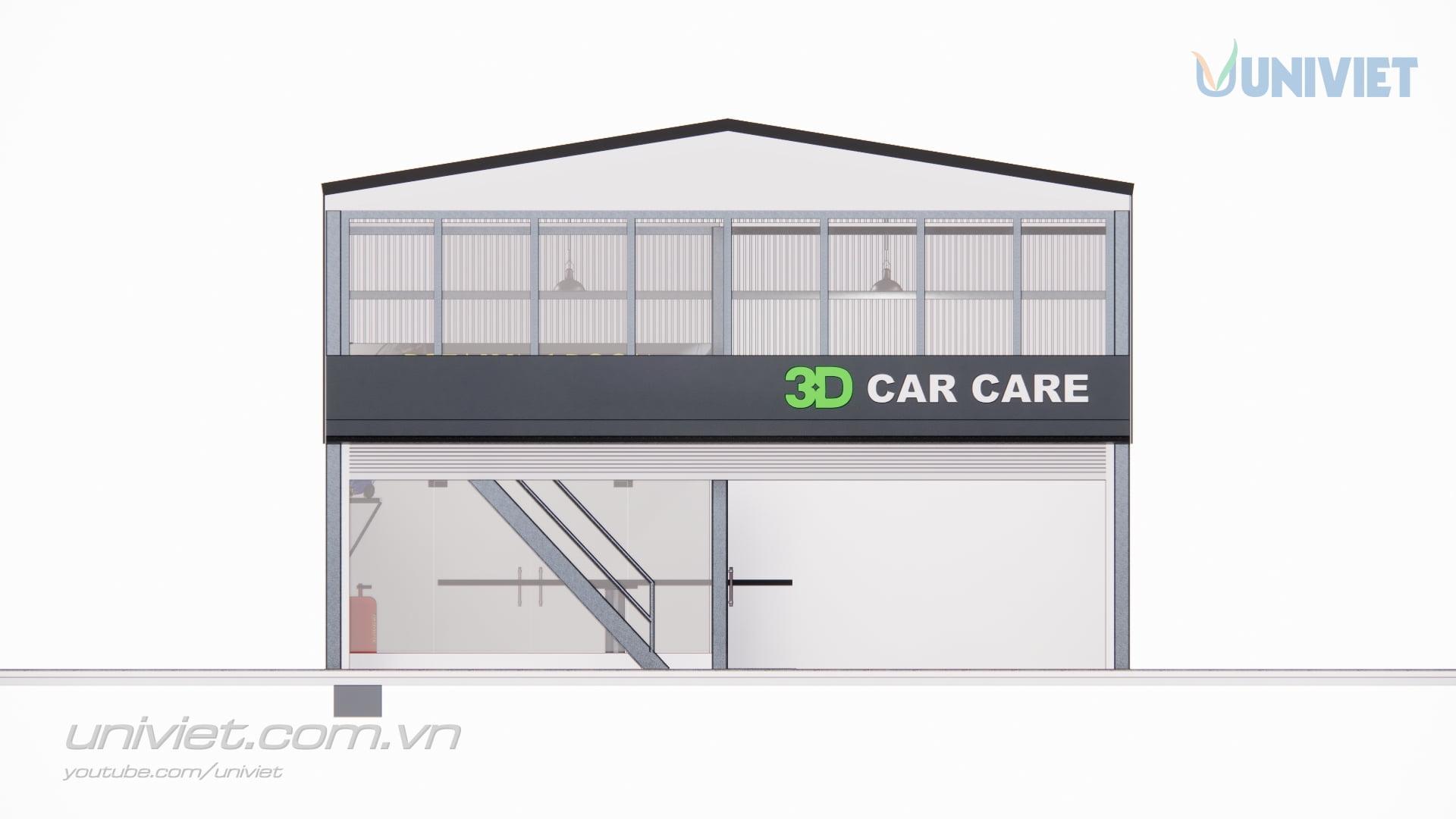 Mô hình 3D Trung tâm chăm sóc xe chuyên nghiệp tại An Giang